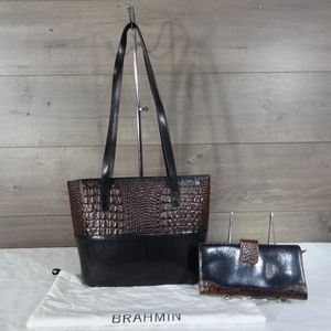 Brahmin Croc Embossed Shoulder Bag Wallet